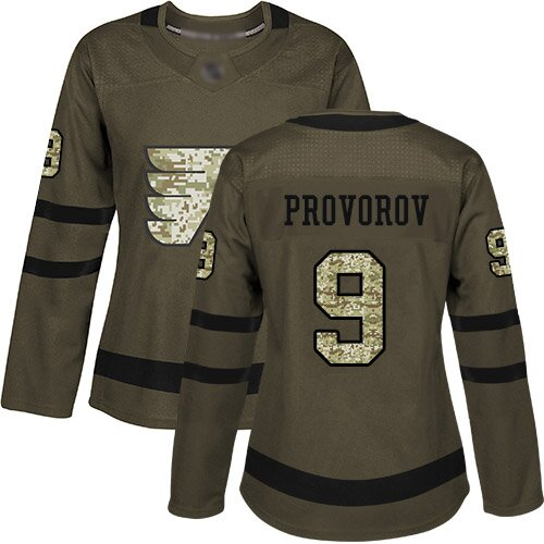 Women's Philadelphia Flyers #9 Ivan Provorov Green Authentic Salute To Service Hockey Jersey