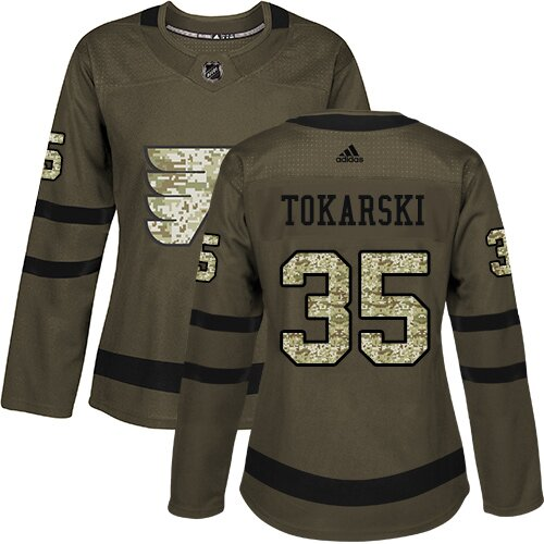 Women's Philadelphia Flyers #30 Dustin Tokarski Adidas Green Authentic Salute To Service NHL Jersey