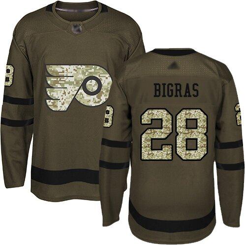 Men's Philadelphia Flyers #28 Chris Bigras Green Authentic Salute To Service Hockey Jersey