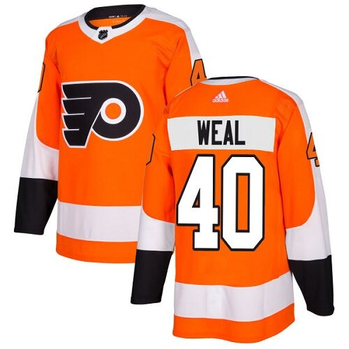Men's Philadelphia Flyers #40 Jordan Weal Orange Home Premier Hockey Jersey