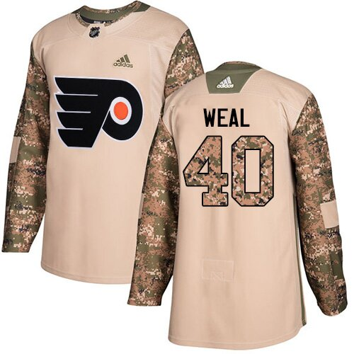Youth Philadelphia Flyers #40 Jordan Weal Adidas Camo Authentic Veterans Day Practice NHL Jersey