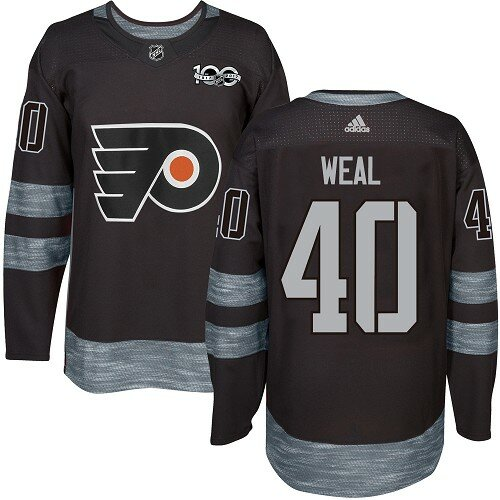 Men's Philadelphia Flyers #40 Jordan Weal Black Authentic 1917-2017 100th Anniversary Hockey Jersey