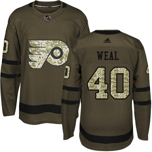 Men's Philadelphia Flyers #40 Jordan Weal Green Authentic Salute To Service Hockey Jersey