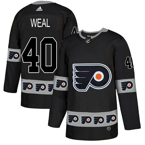 Men's Philadelphia Flyers #40 Jordan Weal Adidas Black Authentic Team Logo Fashion NHL Jersey