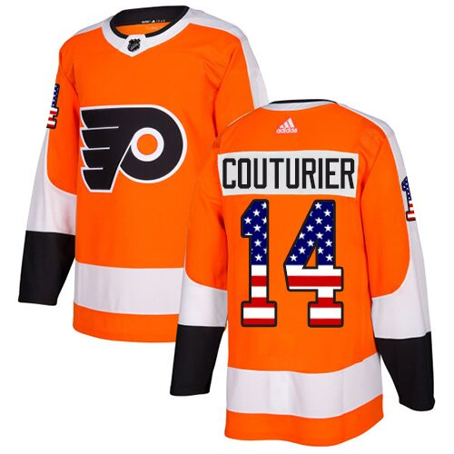 Men's Philadelphia Flyers #14 Sean Couturier Adidas Orange Authentic USA Flag Fashion NHL Jersey