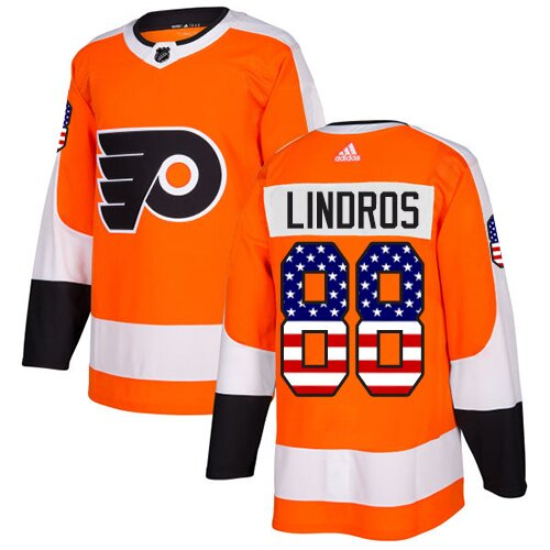 Youth Philadelphia Flyers #88 Eric Lindros Adidas Orange Authentic USA Flag Fashion NHL Jersey