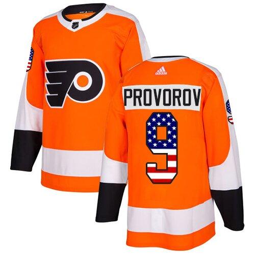 Youth Philadelphia Flyers #9 Ivan Provorov Orange Authentic USA Flag Fashion Hockey Jersey