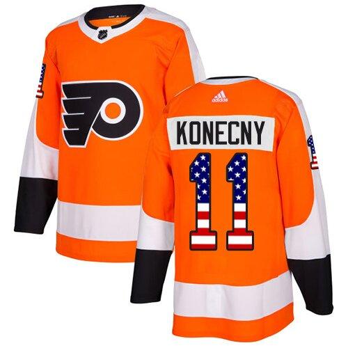 Men's Philadelphia Flyers #11 Travis Konecny Orange Authentic USA Flag Fashion Hockey Jersey