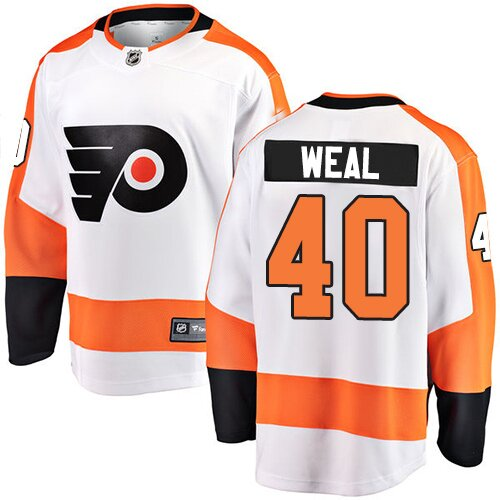 Youth Philadelphia Flyers #40 Jordan Weal Fanatics Branded White Away Breakaway Hockey Jersey