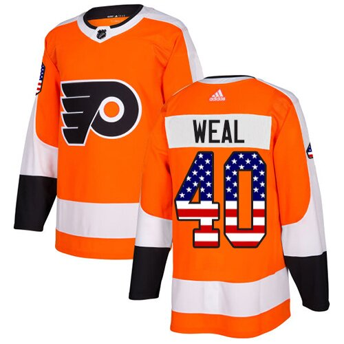 Youth Philadelphia Flyers #40 Jordan Weal Adidas Orange Authentic USA Flag Fashion NHL Jersey