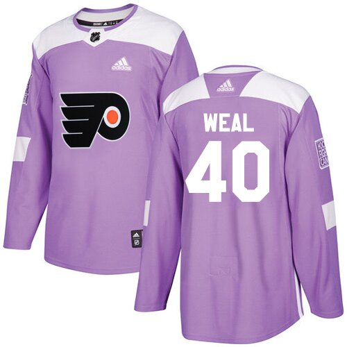 Youth Philadelphia Flyers #40 Jordan Weal Purple Authentic Fights Cancer Practice Hockey Jersey