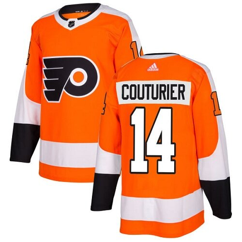 Men's Philadelphia Flyers #14 Sean Couturier Orange Home Premier Hockey Jersey