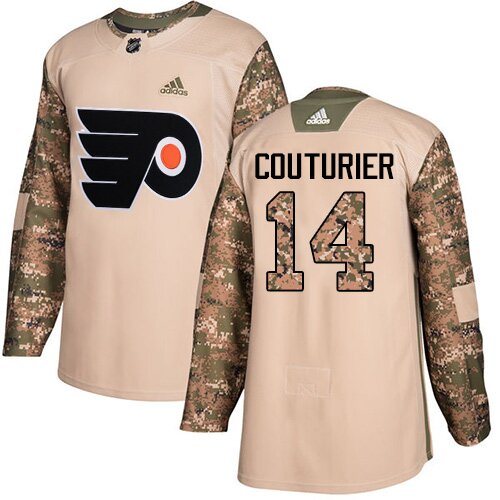 Men's Philadelphia Flyers #14 Sean Couturier Adidas Camo Authentic Veterans Day Practice NHL Jersey