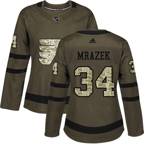 Women's Philadelphia Flyers #34 Petr Mrazek Adidas Green Authentic Salute To Service NHL Jersey
