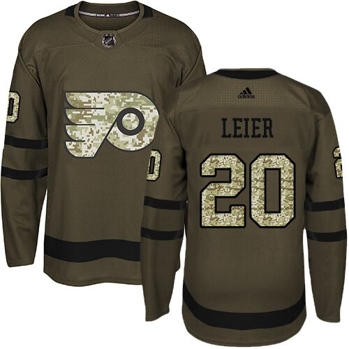 Youth Philadelphia Flyers #20 Taylor Leier Adidas Green Premier Salute To Service NHL Jersey