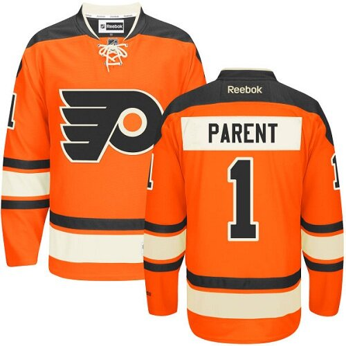 Men's Philadelphia Flyers #1 Bernie Parent Black Alternate Premier Hockey Jersey