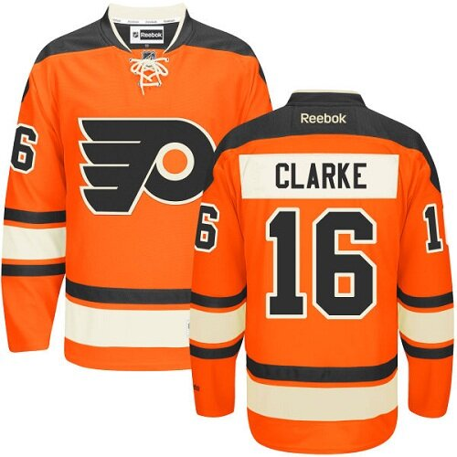 Men's Philadelphia Flyers #16 Bobby Clarke Reebok Orange New Third Premier NHL Jersey