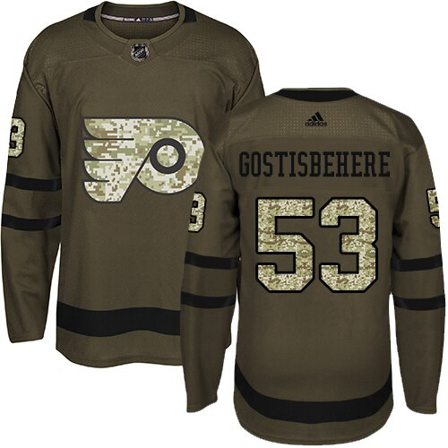 Men's Philadelphia Flyers #53 Shayne Gostisbehere Green Authentic Salute To Service Hockey Jersey