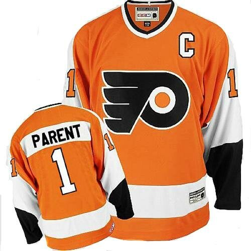 Men's Philadelphia Flyers #1 Bernie Parent CCM Orange Authentic Throwback Hockey Jersey