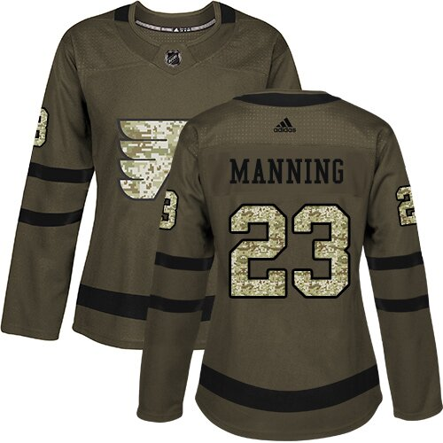Women's Philadelphia Flyers #23 Brandon Manning Adidas Green Authentic Salute To Service NHL Jersey