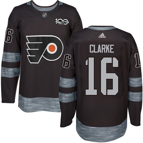 Men's Philadelphia Flyers #16 Bobby Clarke Black Authentic 1917-2017 100th Anniversary Hockey Jersey