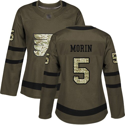 Women's Philadelphia Flyers #5 Samuel Morin Green Authentic Salute To Service Hockey Jersey