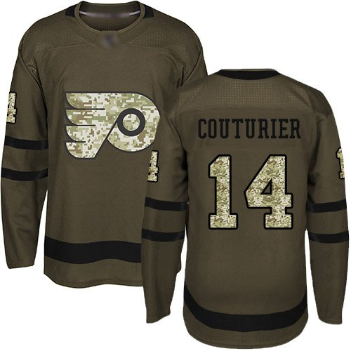 Men's Philadelphia Flyers #14 Sean Couturier Adidas Green Authentic Salute To Service NHL Jersey
