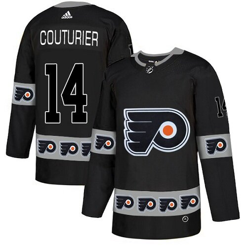 Men's Philadelphia Flyers #14 Sean Couturier Black Authentic Team Logo Fashion Hockey Jersey