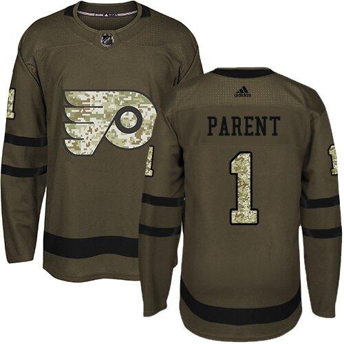 Men's Philadelphia Flyers #1 Bernie Parent Adidas Green Authentic Salute To Service NHL Jersey