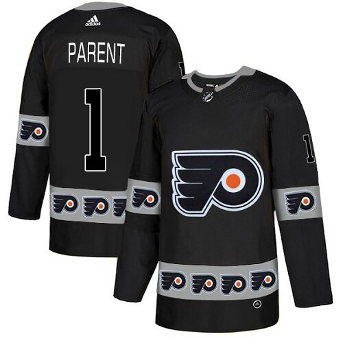 Men's Philadelphia Flyers #1 Bernie Parent Black Authentic Team Logo Fashion Hockey Jersey