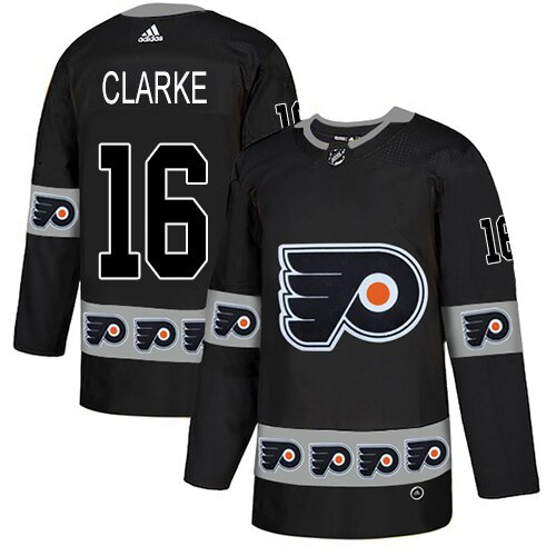 Men's Philadelphia Flyers #16 Bobby Clarke Black Authentic Team Logo Fashion Hockey Jersey