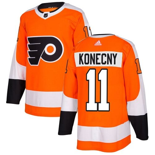 Men's Philadelphia Flyers #11 Travis Konecny Orange Home Premier Hockey Jersey