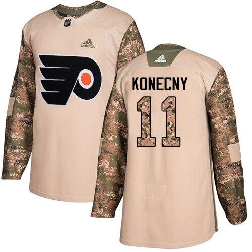 Men's Philadelphia Flyers #11 Travis Konecny Camo Authentic Veterans Day Practice Hockey Jersey