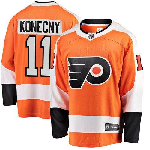 Men's Philadelphia Flyers #11 Travis Konecny Fanatics Branded Orange Home Breakaway Hockey Jersey