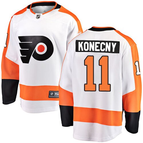 Men's Philadelphia Flyers #11 Travis Konecny Fanatics Branded White Away Breakaway Hockey Jersey