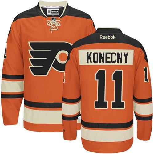 Men's Philadelphia Flyers #11 Travis Konecny Reebok Orange New Third Authentic NHL Jersey