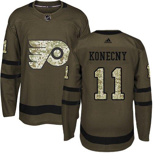 Men's Philadelphia Flyers #11 Travis Konecny Green Authentic Salute To Service Hockey Jersey
