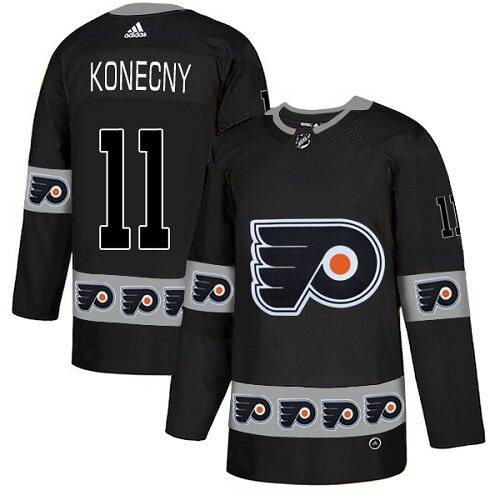 Men's Philadelphia Flyers #11 Travis Konecny Black Authentic Team Logo Fashion Hockey Jersey