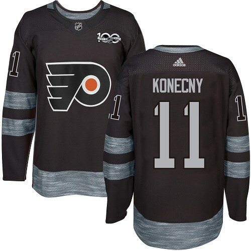 Men's Philadelphia Flyers #11 Travis Konecny Black Authentic 1917-2017 100th Anniversary Hockey Jersey