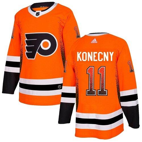 Men's Philadelphia Flyers #11 Travis Konecny Orange Authentic Drift Fashion Hockey Jersey