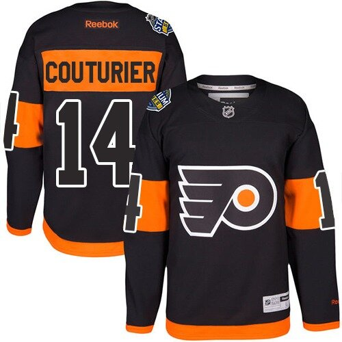Men's Philadelphia Flyers #14 Sean Couturier Reebok Black Premier 2017 Stadium Series NHL Jersey