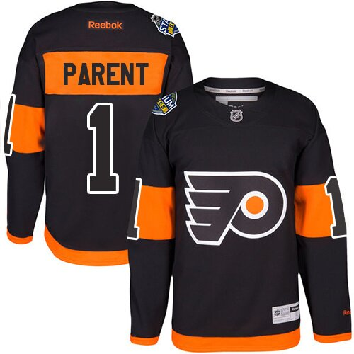 Men's Philadelphia Flyers #1 Bernie Parent Orange Authentic 2019 Stadium Series Hockey Jersey