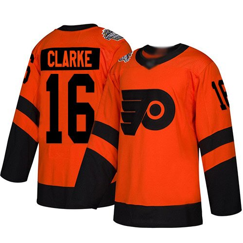 Women's Philadelphia Flyers #16 Bobby Clarke Orange Authentic 2019 Stadium Series Hockey Jersey