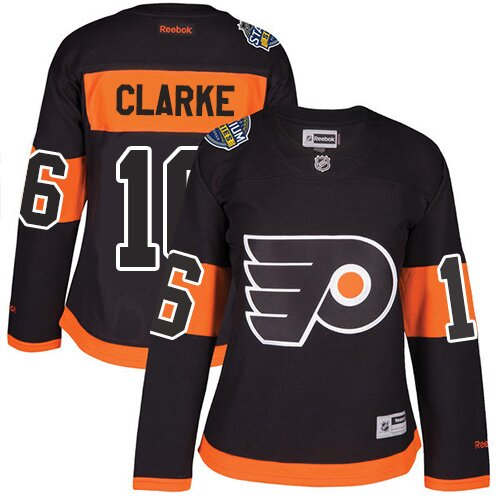 Women's Philadelphia Flyers #16 Bobby Clarke Reebok Black Premier 2017 Stadium Series NHL Jersey