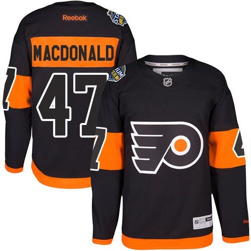 Men's Philadelphia Flyers #47 Andrew MacDonald Reebok Black Premier 2017 Stadium Series NHL Jersey