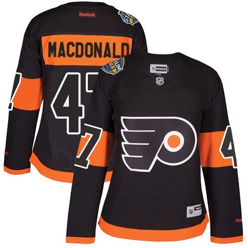 Women's Philadelphia Flyers #47 Andrew MacDonald Reebok Black Premier 2017 Stadium Series NHL Jersey