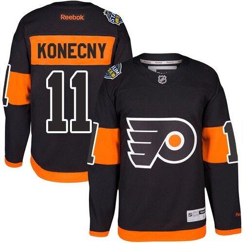 Men's Philadelphia Flyers #11 Travis Konecny Reebok Black Authentic 2017 Stadium Series NHL Jersey