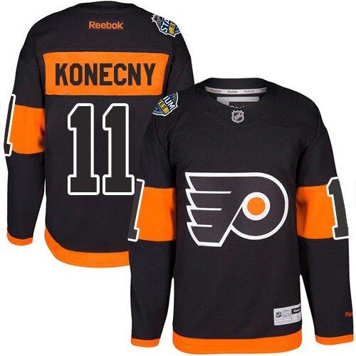 Men's Philadelphia Flyers #11 Travis Konecny Orange Authentic 2019 Stadium Series Hockey Jersey