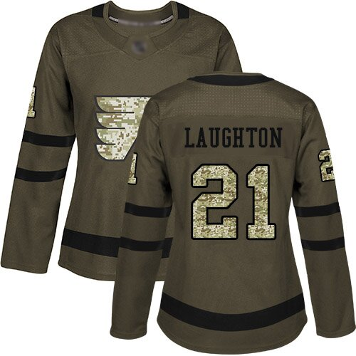 Women's Philadelphia Flyers #21 Scott Laughton Adidas Green Authentic Salute To Service NHL Jersey