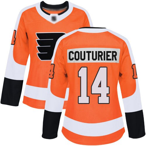 Women's Philadelphia Flyers #14 Sean Couturier Orange Home Authentic Hockey Jersey